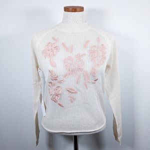 Callahan Embroidered Floral Knit Sweater Size XS